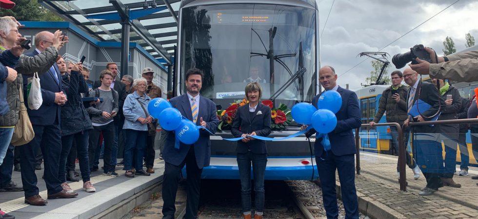 Škodovácké tramvaje z Plzně svezly dnes první cestující v německém Chemnitzu